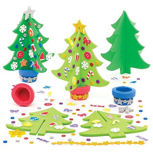 Baker Ross AR802 Weihnachtsbaum-Bastelset für Kinder, Filz, 4 Stück, Sortiert