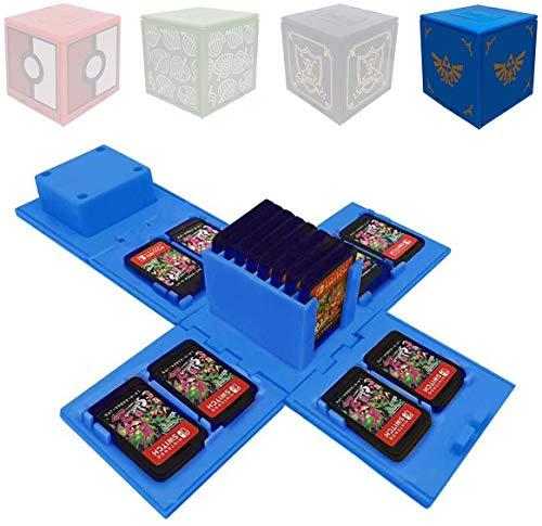 Funda de Juego - Compatible para Nintendo Switch Compatible con hasta 16 Juegos de Nintendo Switch Organizador de Tarjeta de Juego Contenedor de Viaje (Blue Badge)