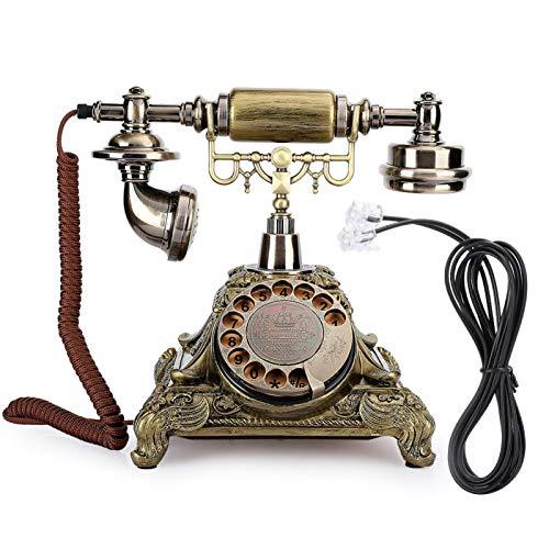 Deror Teléfono Fijo, teléfono con Cable, Resina epoxi, Esfera giratoria clásica, decoración de teléfono Europeo arcaístico Vintage para una Vida artística Elegante