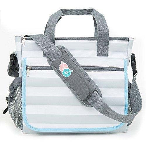 Bula Baby - Stylish Grey Stripe Diaper Tote Organizer Bag -11 Pockets to Keep Everything Secure...