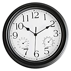 Foxtop 12 inch Retro Silent Non-Ticking Wall Clock with Thermometer and Hygrometer Combo - Battery Operated Quality Quartz Round Clock for Bathroom Home Decor (Black)