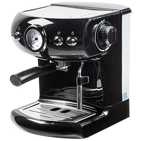 Acopino Palermo Espressomaschine | Coffee Maker | Siebträger | Professioneller Milchaufschäumer | Heißwasserfunktion | 1,5L Wassertank | schwarz