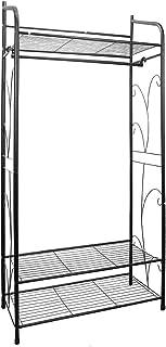 Medla Perchero Burro Metálico, Perchero de Pie con 3 Estante y Barra para Colgar Ropa, Perchero para Prendas Zapatos Canastas, Estilo Clásico Color Negro, 79 x 36 x 161cm