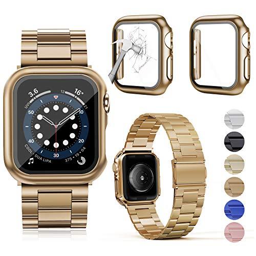 OMEE Compatible con Apple Watch Band de 44 mm con 2 piezas, correa de metal de acero inoxidable para Apple Watch Series 6/5/4/3/2/1/SE (44 mm, oro rosa)
