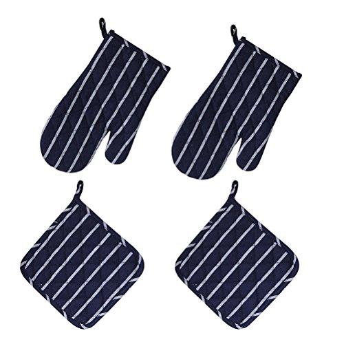 OUNONA 2 Set Topfhandschuhe Ofenhandschuhe Anti-Rutsch Backofen Handschuhe, zum Kochen, Backen, Barbecue Isolation Pads von dunkelblauem Streifen
