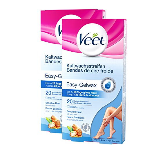 Veet Kaltwachsstreifen Beine sensible Haut 2er Pack (2 x 20 Stück)