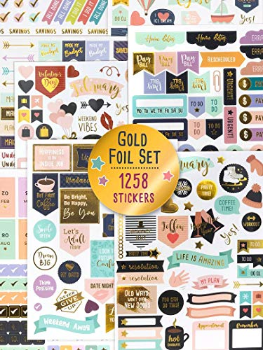 Aesthetic Gold Foil Planner Stickers - 1250+ Stunning Design Accessories Enhance and Simplify Your Planner, Journal and Calendar