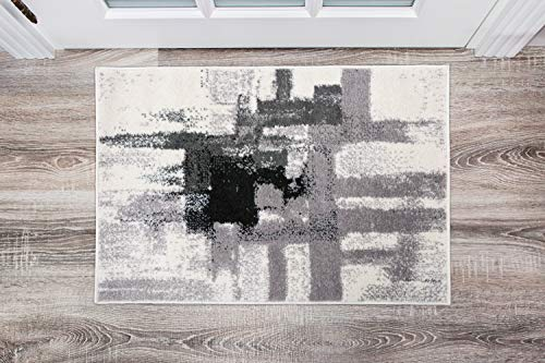 Rugshop Contemporary Modern Abstract Area Rug 3′ 3″ x 5′ Black