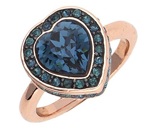 Guess Women Ring Metal rose gold/blue UBR28510, ring size:56 (17.8)