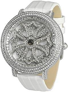 [ブルッキアーナ]BROOKIANA メンズ レディース ユニセックス くるくる回る 回転時計 スピンウォッチ ジルコニアストーン 47mm シルバー ホワイト エナメル レザー BA2310-SVWH 腕時計 [並行輸入品]