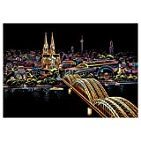 ErYao Scratch Art Set, Rainbow Scratch Paper for Adult and Kids Black Scratch Off Art Crafts Notes Boards Sheet- Shanghai Night View (Black)