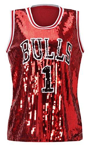 Howriis Women's Sequins Basketball Bulls 1 Tank Vests (One Size, Dark Red)