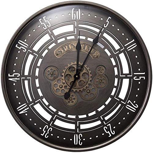 Orologio da parete con ingranaggi mobili in metallo, grande muto industriale, non ticchettio, per casa, ufficio, camera da letto, cucina, al quarzo, decorazione decorativa rotonda, 60 x 60 cm