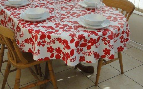 140 x 300 cm Nappe ovale en PVC/vinyle – rouge & blanc fleur – 10–12 places