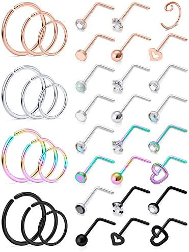 Ocptiy 18G Nose Ring for Nose Piercing Jewelry Nose Stud Women Stainless Surgical Steel Nose product image