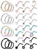 Ocptiy 18G Nose Ring for Nose Piercing Jewelry Nose Stud Women Stainless Surgical Steel Nose Ring Hoop L Shaped Nose Rings Studs Body Piercings Hoop Jewelry for Women Men 2MM