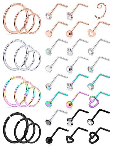 Ocptiy 18G Nose Ring for Nose Piercing Jewelry Nose Stud Women...