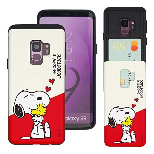 """Galaxy S9 ケース と互換性があります Peanuts Snoopy ピーナッツ スヌーピー カード スロット ダブル バンパー スマホ ケース 【 ギャラクシー S9 ケース (5.8"""") 】 (対角線 スヌーピー) [並行輸入品]"""