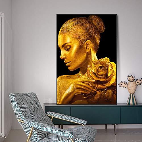 Mujer de Piel Dorada con Pinturas en Lienzo de Rosas en la Pared, Carteles artísticos e Impresiones, Cuadros de Pared para la Sala de Estar 60x90cm