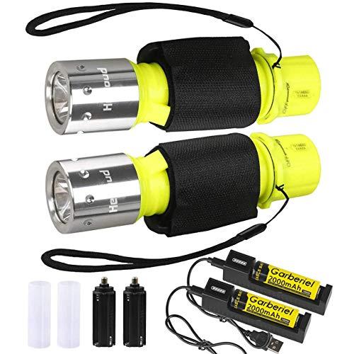 WholeFire Linterna de Buceo Impermeable 2 Unidades, 1000 lúmenes luz LED de Buceo Recargable, 3 Modos con Batería y Cargador para Buceo, Natación, Senderismo, Acampada, Pesca
