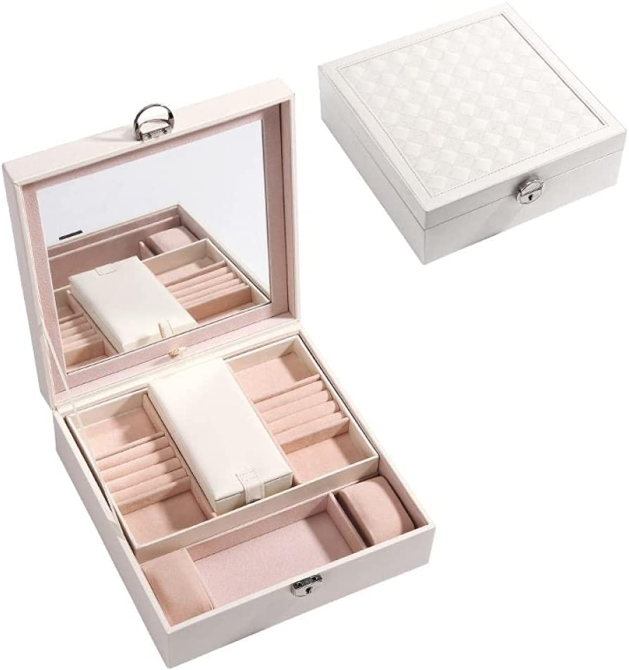 Anbiratlesn Jewelry Atlanta Mall Box for Women Jewe 2 Lockable Safety and trust Leather Layers