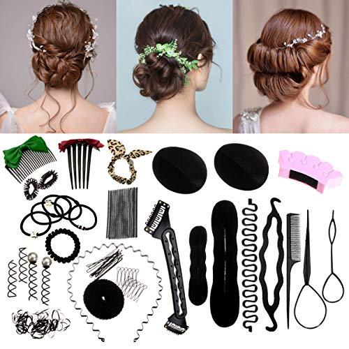 Accessoires de Coiffure, Luckyfine,Set d'Outils de Coiffure, Cheveux Accessoires, Kit de Coiffure pour Femmes et Filles Convient pour Les Débutants