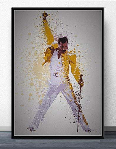 ndegdgswg Freddie Mercury Queen Rock Band legendären Popstar Comic Poster , und Drucke Malerei , Kunst Wandbilder für Wohnzimmer Wohnkultur (40 * 60cm)@18x24 inch No Frame_Hellgrün