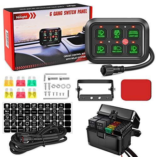Nilight 6 Gang Switch Panel Universal Circuit Control Relay System with Fuse Wiring Harness Automatic Dimmable ON-Off LED Switch Pod for Cars Trucks Boats ATV UTV SUV, 2 Years Warranty