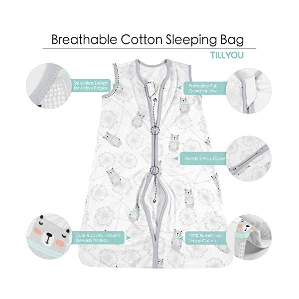 TILLYOU X-Large XL Breathable Cotton Baby Wearable Blanket with 2-Way Zipper, Super Soft Lightweight 2-Pack Sleeveless Sleep Bag Sack Unisex Clothes, Fits Toddlers Age 18-24 Months, Bear & Dandelion