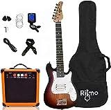 Kids 30 Inch Electric Guitar and Amp Complete Bundle Kit for Beginners-Starter Set Includes 6 String Guitar, 20W Amplifier with Distortion, 2 Picks, Shoulder Strap, Tuner, Bag Case - Sunburst