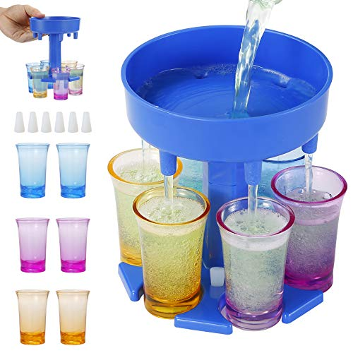 6 Ways Shot Glass Dispenser and Silicone Holders, Shot Glasses Hanging Holder Stand Rack With 6 Shot Glasses For Bar Home Cocktail/Party (Blue)