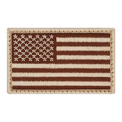 Café Viereck ® Amerika USA Flaggen Patch Gestickt mit Klett - 8 cm x 5 cm (Sand Coyote tarn)