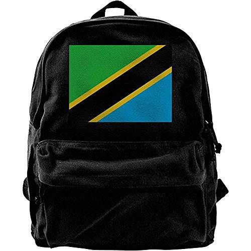 Yuanmeiju Computerrucksäcke, Reiserucksack, klassischer Tagesrucksack aus Segeltuch, College-Schultaschen, Flagge von Tansania Lässiger Schulterrucksack, Notebook-Laptoptasche