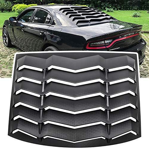 E-cowlboy Rear Window Louver Windshield Sun Shade Cover for Dodge Charger 2011 2012 2013 2014 2015 2016 2017 2018 2019 2020 in GT Lambo Style Custom Fit All Weather ABS (Matte Black)