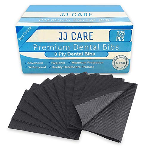 [UPGRADED] Pack of 125 Black Dental Bibs, 3 Ply Waterproof Bibs 13