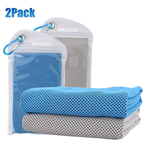 AMZCOCS Cooling Towel, 2Packs Workout Towel, Cool Bowling Fitness Yoga Towel Set- 40'x12',Soft Breathable Chilly Towel for Yoga,Sport,Gym,Workout,Camping,Fitness,Running,Workout&More Activities