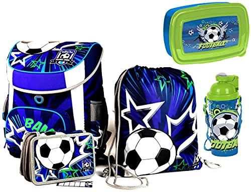 SCOOLSTAR Fußball Schulranzen Jungen 1 Klasse Tornister Schulrucksack Schultasche | mit FIDLOCK | Set 5 TLG. | inkl…