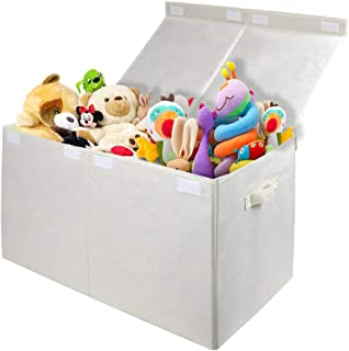 Homyfort Kids Large Toy Chest with Flip-Top Lid, Collapsible Storage Box Container Bins for Nursery, Playroom, Closet, Home Organization, 24