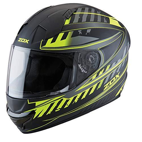 ZOX ST-11118 'Thunder 2' Blade Matte Hi-Viz Yellow and Black Full-Face Motorcycle Helmet - Small