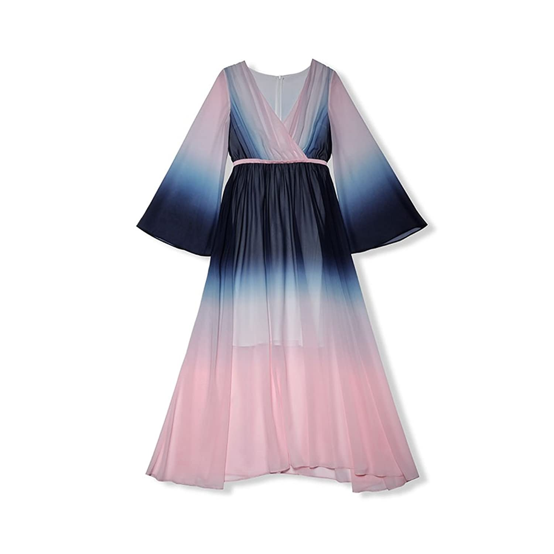 WYYY ドレス 夏の季節 ロングスカート ロングスリーブ V襟 ホーンスリーブ グラジエント セレブリティ シフォンドレス イブニングドレス (サイズ さいず : L l)