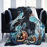 Manta de Halloween con calabaza y gato para Halloween, ultra suave, forro polar, manta ligera para sofá, cama, sala de estar, decoración de oficina 80 x 60