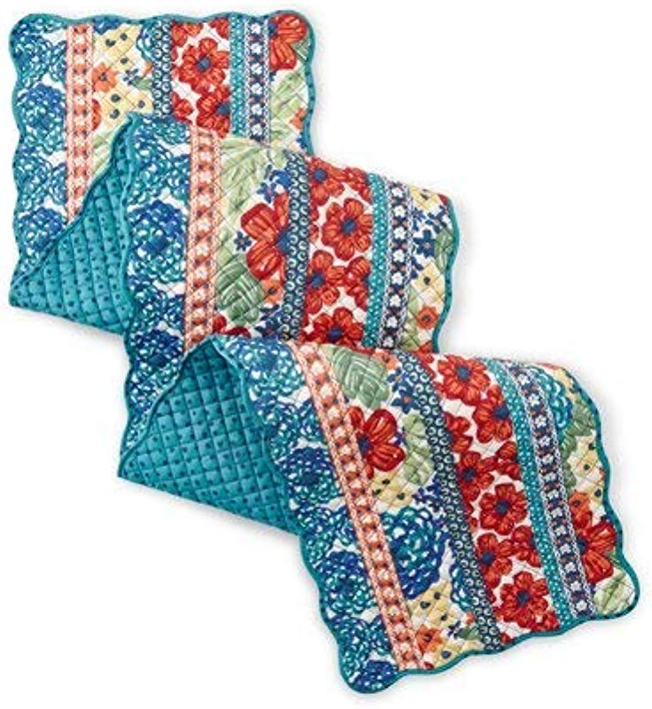 The Pioneer Woman Dazzling Dahlias Quilted Table Runner