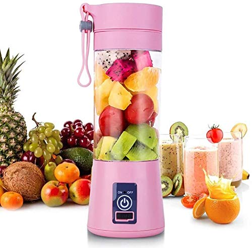 Portable Blender, Juicer Cup, Can be Used for Fruits, Smoothies & Milkshakes, 6 3D Blades that Can Shake Smoothies, with USB Charging Function, 380ML, Suitable for Home/Outdoor Activities (Pink)