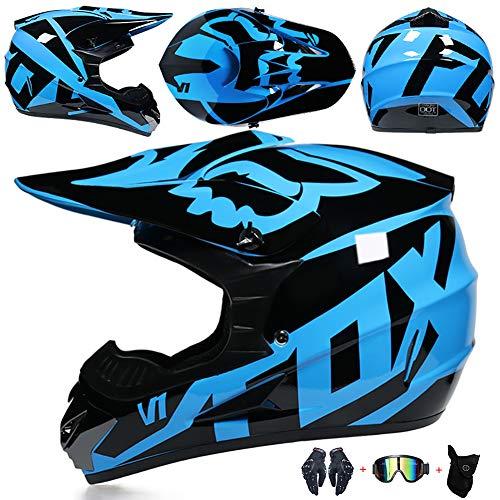 FSYG Casco de protección Profesional de Casco de Motor con Gafas Gloves Máscara Adecuada para Adultos y niños,B