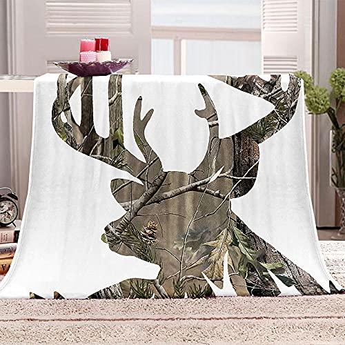 Manta Sherpa con Estampado Ciervo Animal Rama de árbol 3D Mantas de Franela Súper Suave de Lana Manta de Viaje Polar Multiuso para Cama Infantil Individual 70x100cm