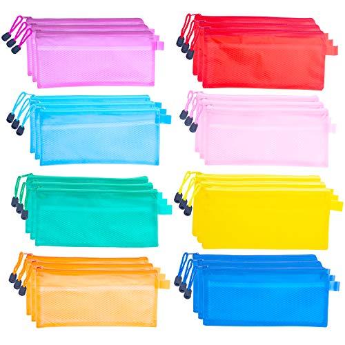 Set da 24 Sacchetti Zip, Buste Trasparenti con Chiusura (23,5x11cm) Buste Plastica con Zip, Busta con Cerniera Impermeabile, Custodia per Matite, Penne, Banconote e Cosmetici - Buste con Zip 8 Colori