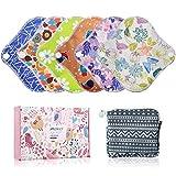 YueTech Lot de 6 protège-slips réutilisables en tissu lavable pour femme avec sac de rangement, serviette hygiénique en bambou et 1 mini sac