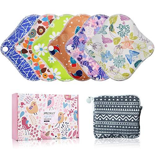 YueTech Lot de 6 serviettes hygiéniques XS (16,5cm) en tissu de bambou, réutilisables et lavables, pour femme, compresses d'allaitement avec sac de rangement + 1 mini sac
