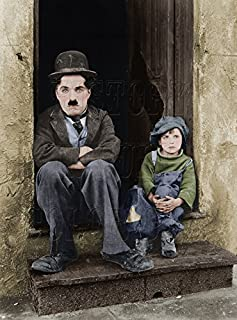 Charlie Chaplin and Jackie Coogan in The Kid Color Photo