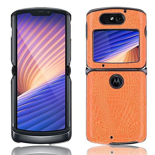 SPAK Motorola Razr 5G 2020 Hülle,Neuer Qualitäts Krokodilmuster Schutzhülle Harter Rückseitiger Abdeckungs Handyhülle für Motorola Razr 5G 2020 (Gelb)